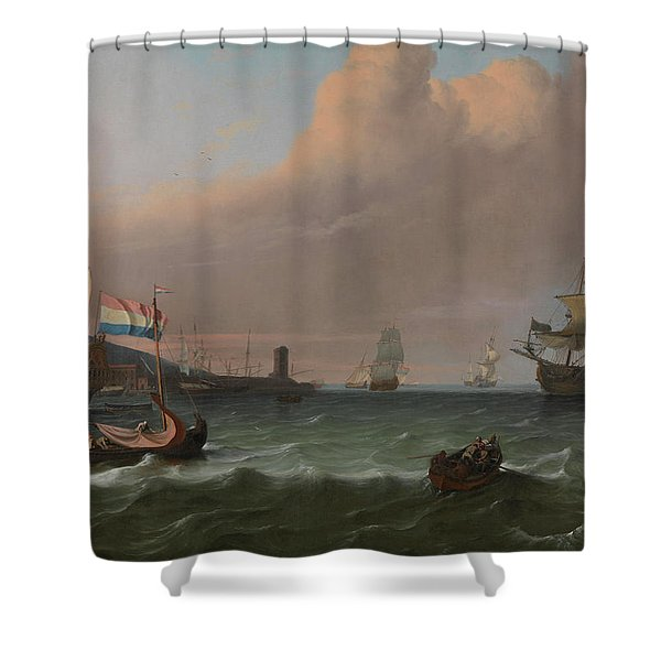 Dutch Men-of-war Entering A Mediterranean Port Shower Curtain