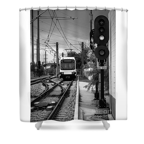 Electric Commuter Train In Bw Shower Curtain