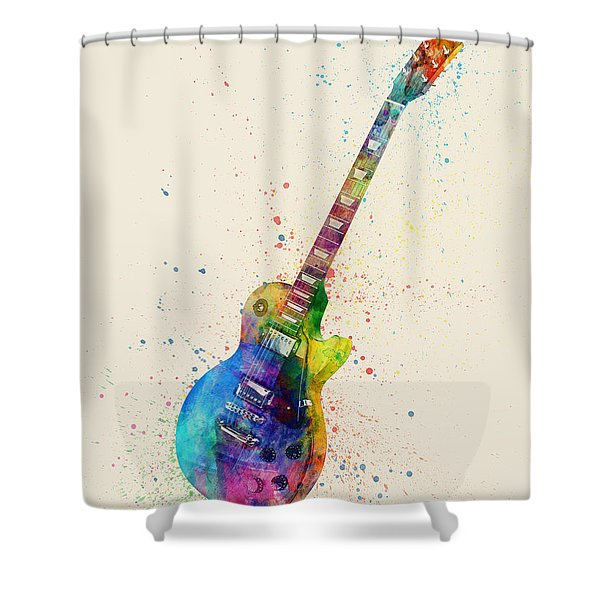 Electric Guitar Abstract Watercolor Shower Curtain