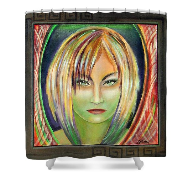 Emerald Girl Shower Curtain