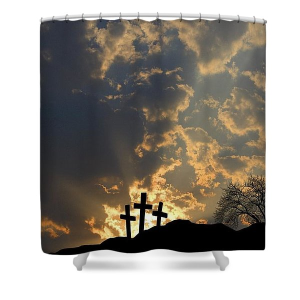 Empty Tomb And Three Crosses Shower Curtain