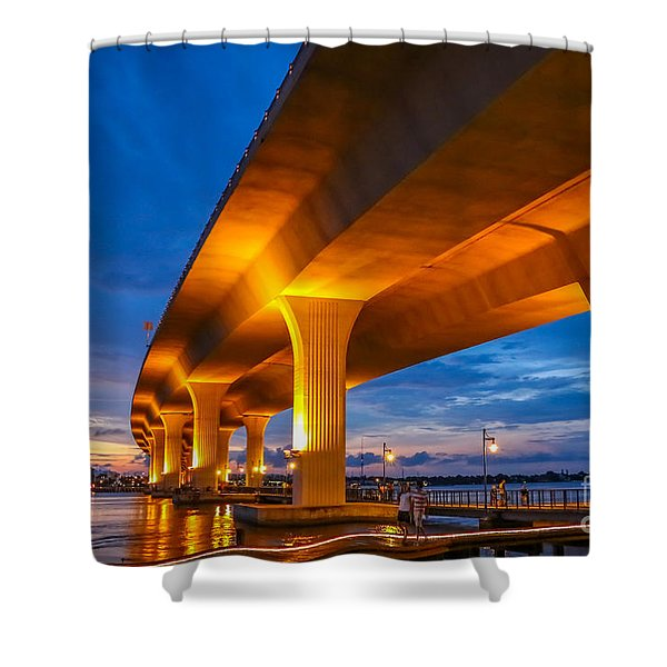 Shower Curtain featuring the photograph Evening On The Boardwalk by Tom Claud