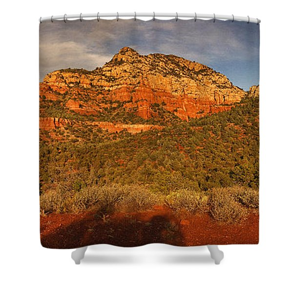 Evening Shadows Pano Txt Shower Curtain