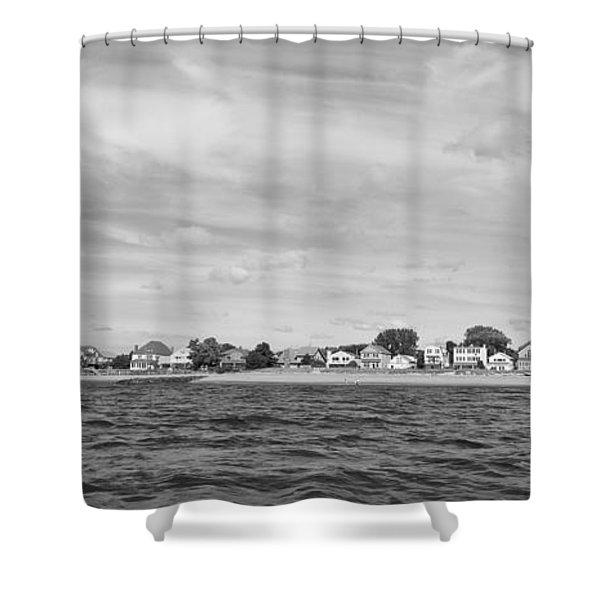 Fairfield Connecticut Coastline Black And White Shower Curtain