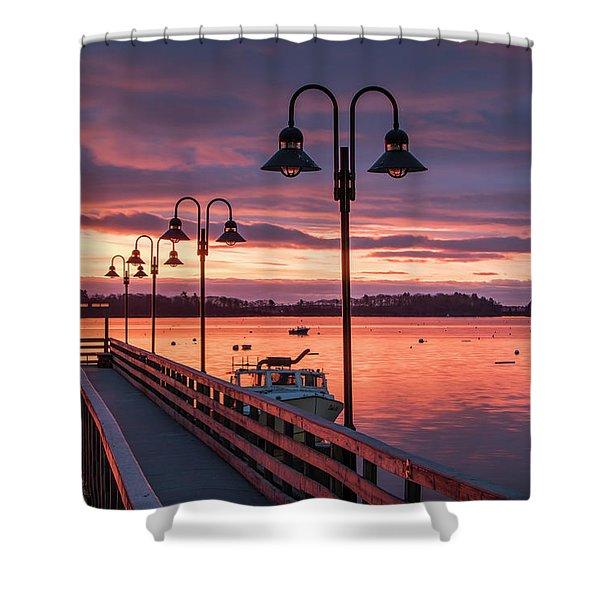 Falmouth Town Landing Sunrise Shower Curtain