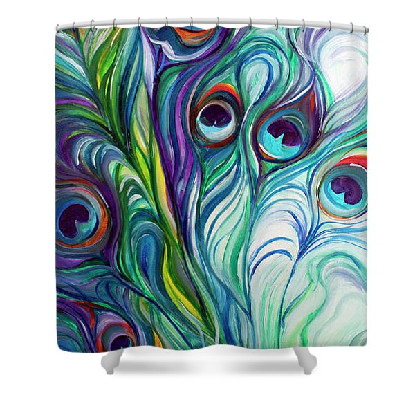 Feathers Peacock Abstract Shower Curtain