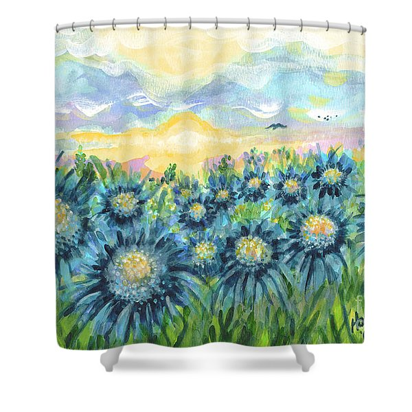 Field Of Blue Flowers Shower Curtain