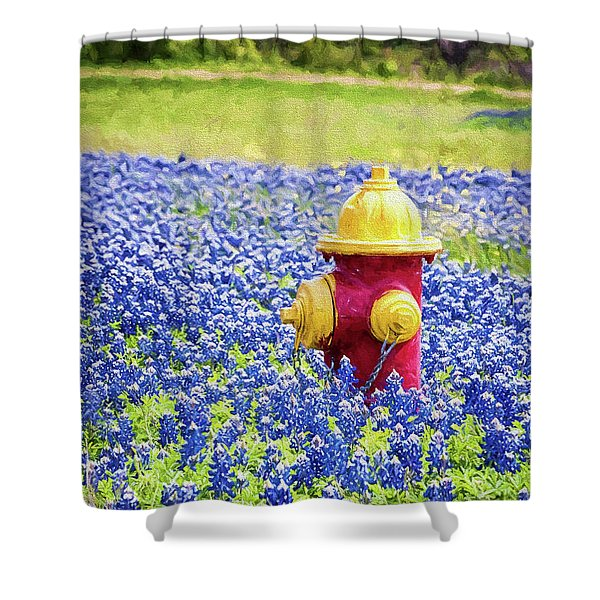 Fire Hydrant In The Bluebonnets Shower Curtain
