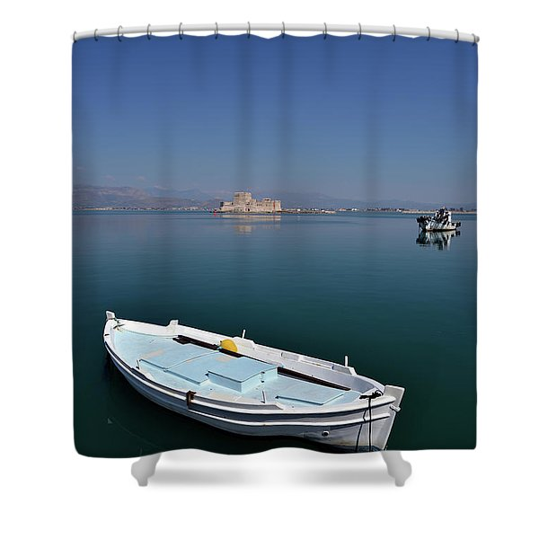 Fishing Boats In Nafplio Town Shower Curtain