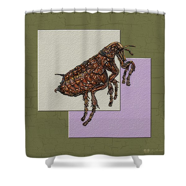 Flea On Abstract Beige Lavender And Dark Khaki Shower Curtain