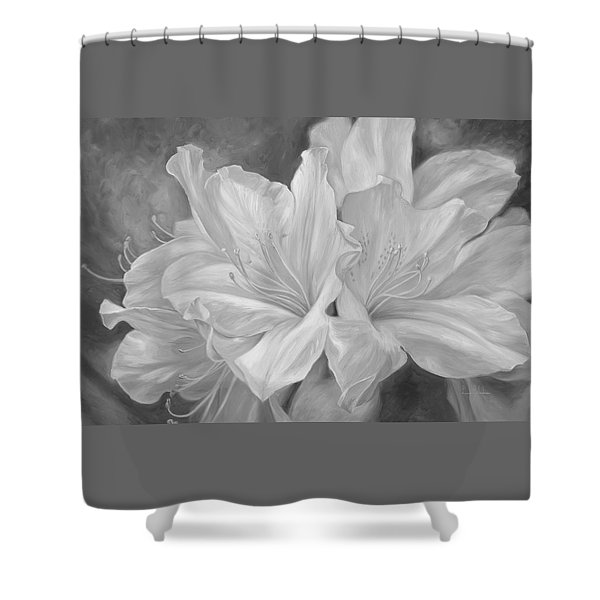 Fleurs Blanches - Black And White Shower Curtain