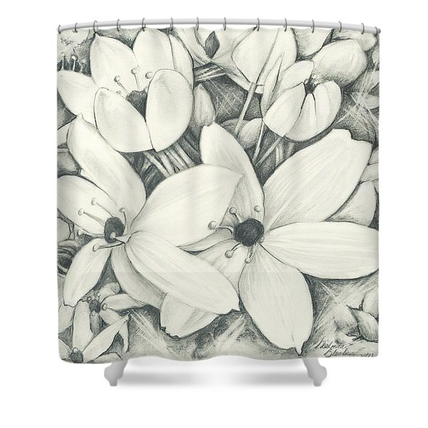 Flowers Pencil Shower Curtain