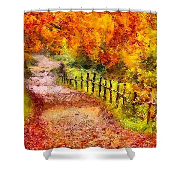 Fall Foliage Path 2 Shower Curtain