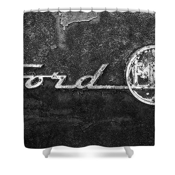 Ford F-100 Emblem On A Rusted Hood Shower Curtain