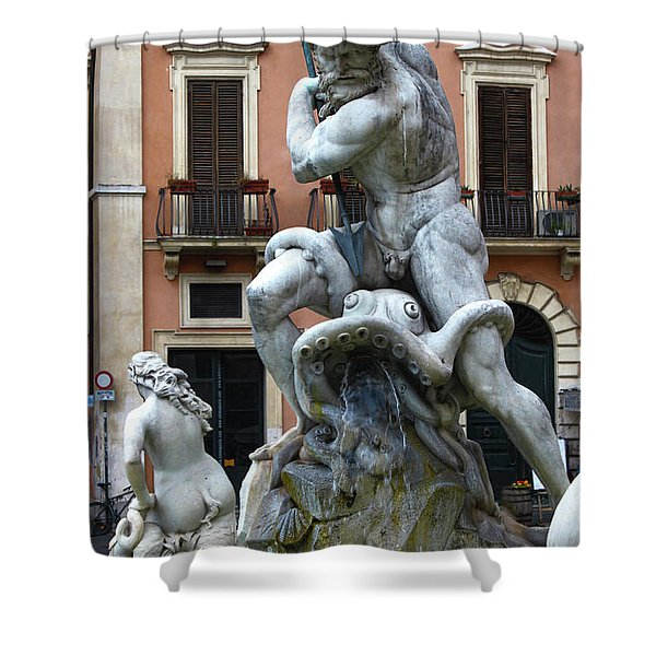 Fountain Of Neptune Detail In Rome Shower Curtain