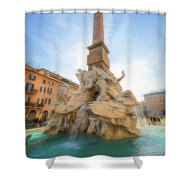 Fountain Of The Four Rivers Rome Italy II Shower Curtain