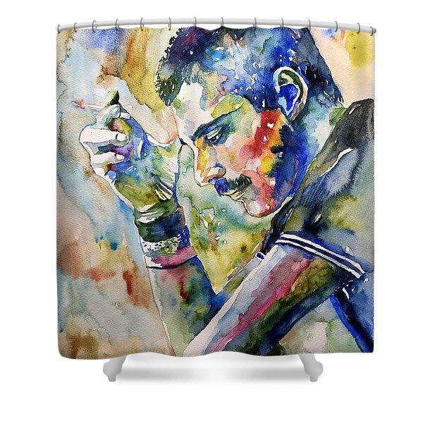 Freddie Mercury Watercolor Shower Curtain
