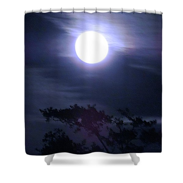 Full Moon Falling Shower Curtain