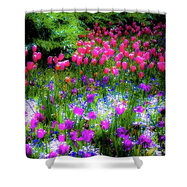 Garden Flowers With Tulips Shower Curtain
