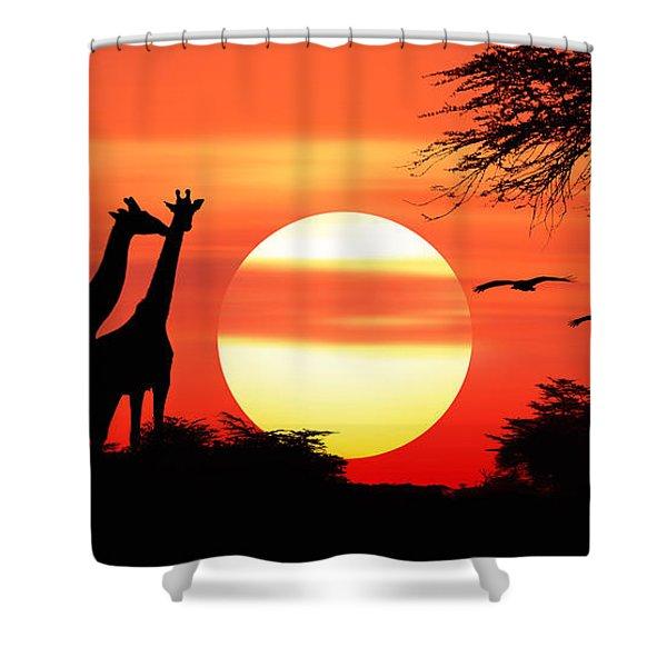 Giraffes At Sunset Shower Curtain