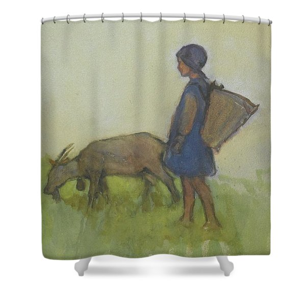 Girl With A Goat Shower Curtain