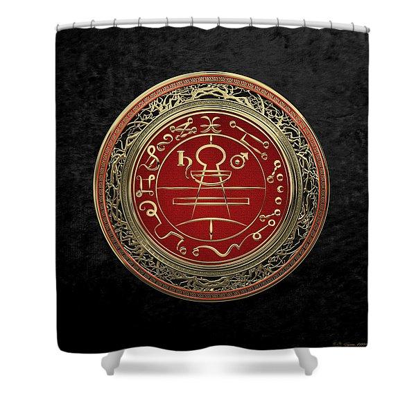 Gold Seal Of Solomon - Lesser Key Of Solomon On Black Velvet  Shower Curtain