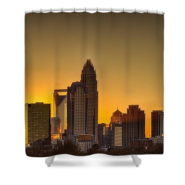 Shower Curtain featuring the photograph Golden Charlotte Skyline by Alex Grichenko