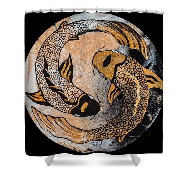 Golden Yin And Yang Shower Curtain