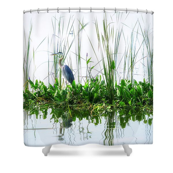 Great Blue On Green Island Shower Curtain