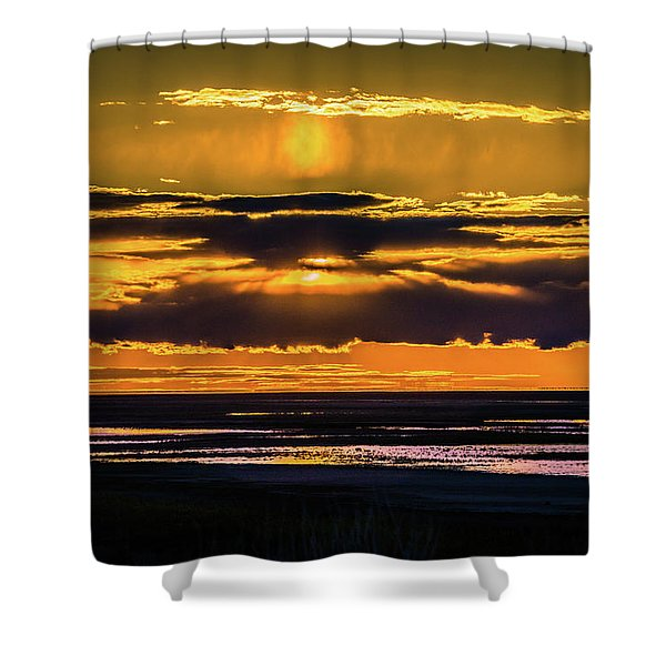 Great Salt Lake Sunset Shower Curtain