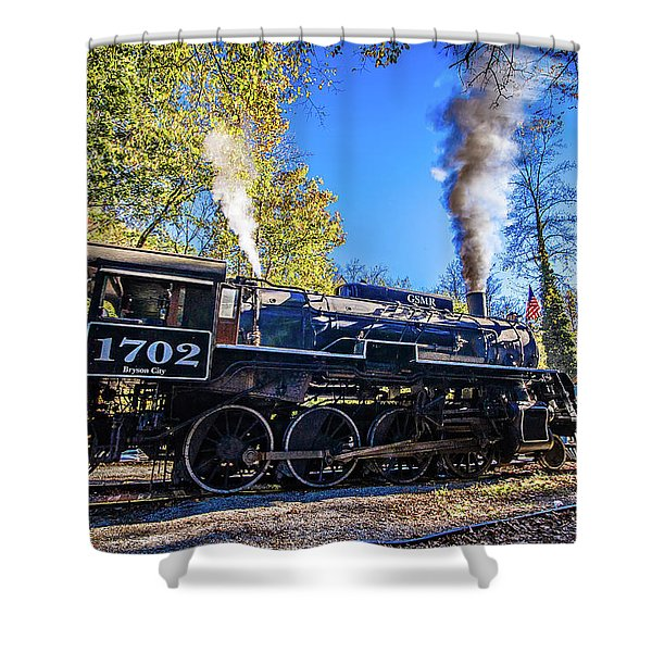 Shower Curtain featuring the photograph Great Smoky Mountains Rail Road Autumn Season Excursion by Alex Grichenko
