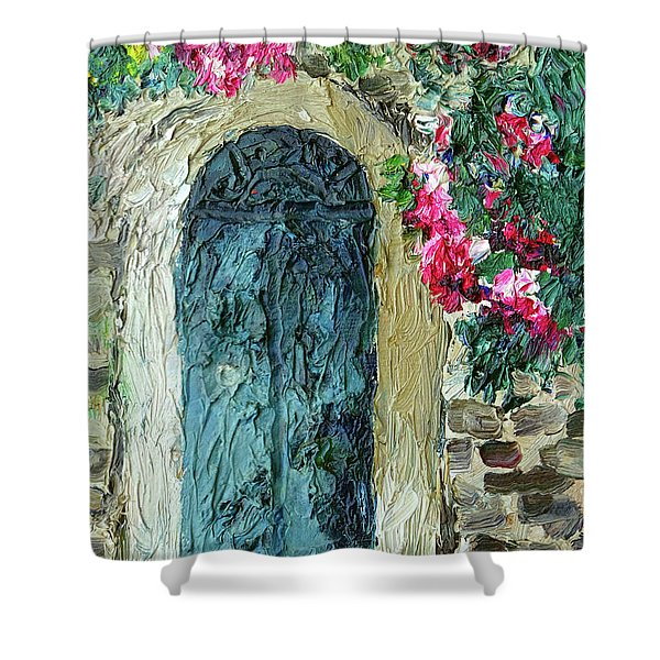 Green Italian Door With Flowers Shower Curtain