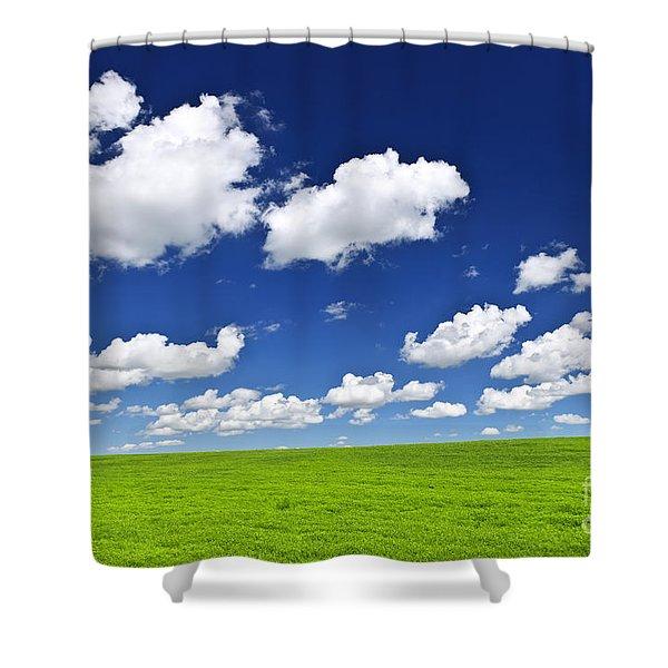 Green Rolling Hills Under Blue Sky Shower Curtain