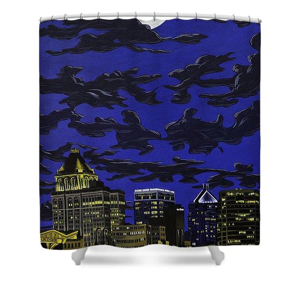 Greensboro Night Skyline Shower Curtain