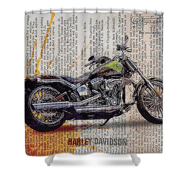 Harley Davidson Cvo Breakout Softail Shower Curtain
