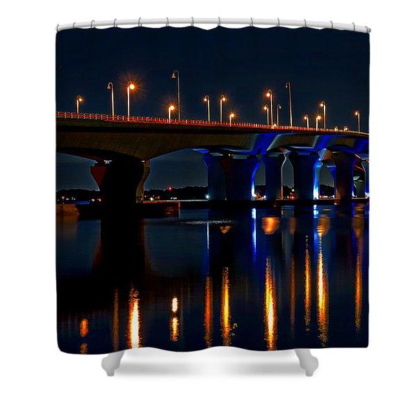 Hathaway Bridge At Night Shower Curtain