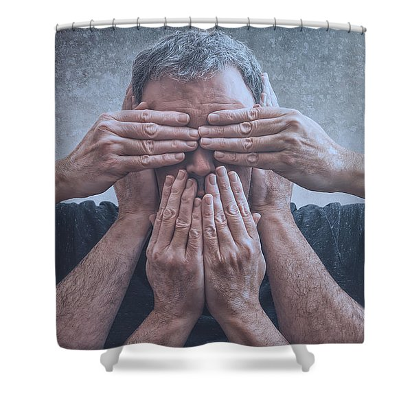 Hear, See, Speak Shower Curtain