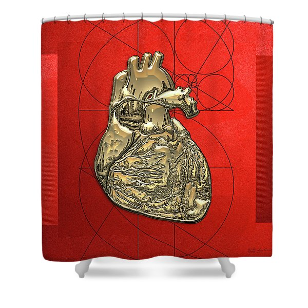 Heart Of Gold - Golden Human Heart On Red Canvas Shower Curtain