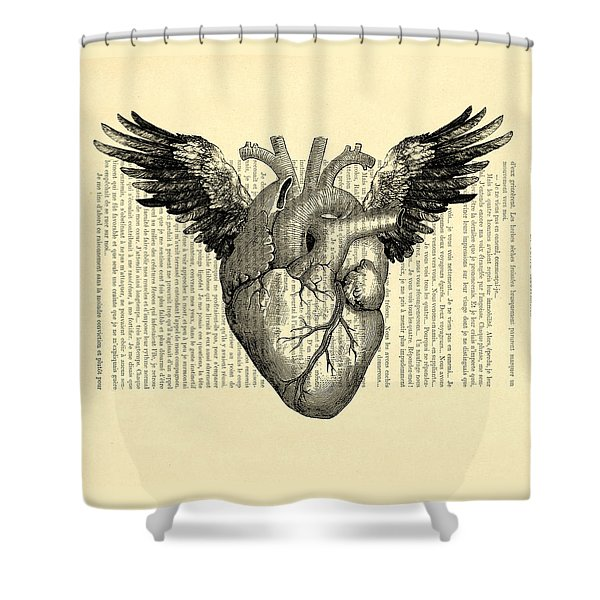 Heart With Wings Shower Curtain