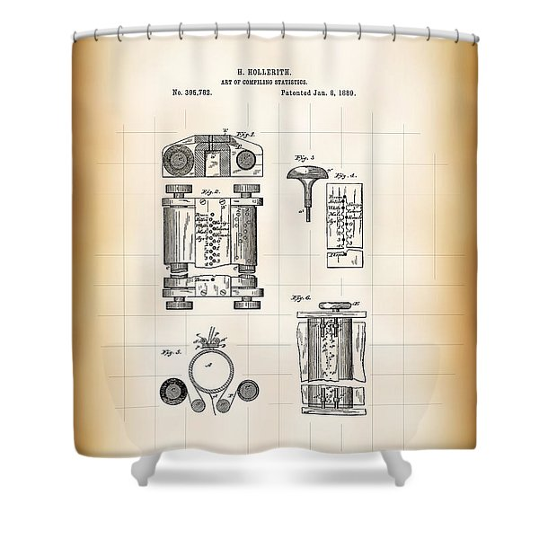 Hollerith Tabulation Computer Patent 1889 Shower Curtain