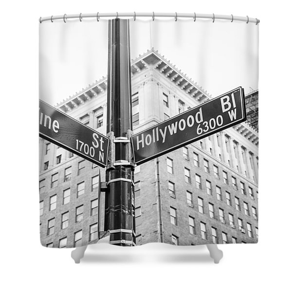 Hollywood And Vine Street Sign Shower Curtain