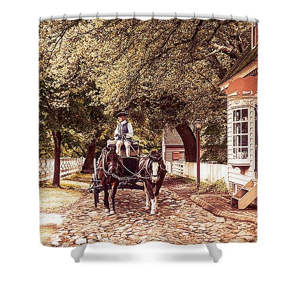 Horse Drawn Wagon Shower Curtain
