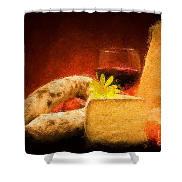 Still Life With Cheese And Salami Shower Curtain