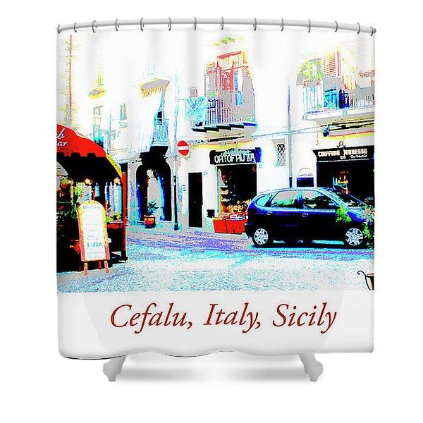 Italian City Street Scene Digital Art Shower Curtain