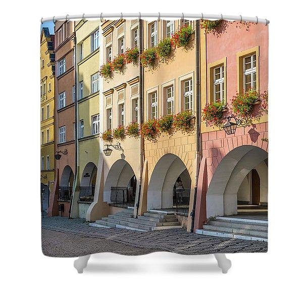 Jelenia Gora Baroque Tenement Houses With Arcades  Shower Curtain