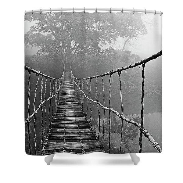 Jungle Journey Black And White Shower Curtain