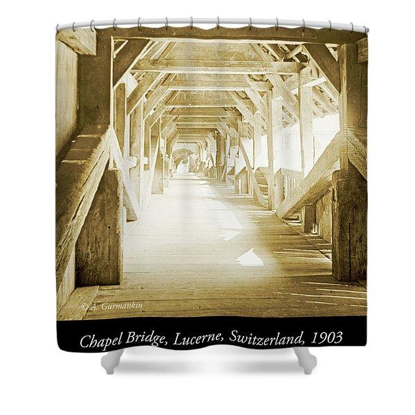 Kapell Bridge, Lucerne, Switzerland, 1903, Vintage, Photograph Shower Curtain