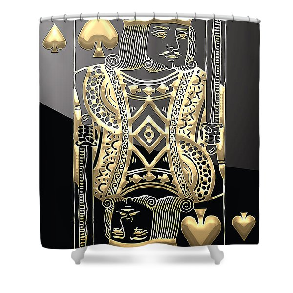 King Of Spades In Gold On Black   Shower Curtain