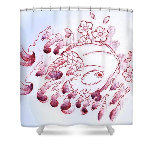 Koi Carp Tattoo Art Shower Curtain