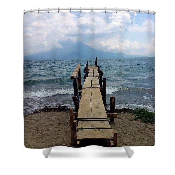 Lake Atitlan Dock Shower Curtain
